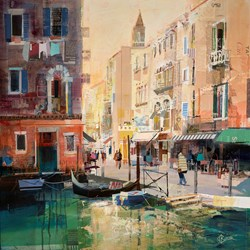 Mellow Venice by Tom Butler - Original Collage on Board sized 30x30 inches. Available from Whitewall Galleries